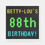 [ Thumbnail: Fun Vintage/Retro Video Game Look 88th Birthday Paper Napkin ]