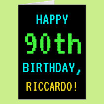 Fun Vintage/Retro Video Game Look 90th Birthday Card