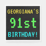 [ Thumbnail: Fun Vintage/Retro Video Game Look 91st Birthday Paper Napkin ]