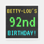 [ Thumbnail: Fun Vintage/Retro Video Game Look 92nd Birthday Napkin ]