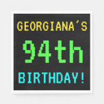 [ Thumbnail: Fun Vintage/Retro Video Game Look 94th Birthday Paper Napkin ]