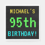 [ Thumbnail: Fun Vintage/Retro Video Game Look 95th Birthday Paper Napkin ]