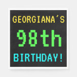 [ Thumbnail: Fun Vintage/Retro Video Game Look 98th Birthday Paper Napkin ]