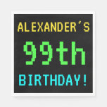 [ Thumbnail: Fun Vintage/Retro Video Game Look 99th Birthday Paper Napkin ]