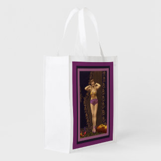 Fun Vintage Showgirl in purple and Gold Grocery Bag