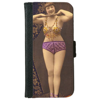 Fun Vintage Showgirl in purple and Gold Wallet Phone Case For iPhone 6/6s
