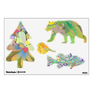 Fun Wall Decal - Bear, Fish, Bird, Tree