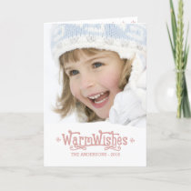 Fun Warm Wishes Blush Pink Script Christmas Holiday Card