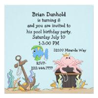Fun Water Theme Birthday Party Invitation