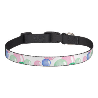 Fun Watercolor Bubbles on White Pet Collar