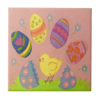 "Fun Watercolor Chick with Easter Eggs 4.25"" Tile"