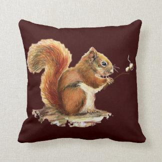 Fun Watercolor Red Squirrel roasting Marshmallows Throw Pillow