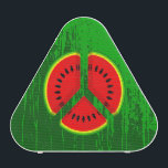 """Fun Watermelon Peace Bright Colours Bluetooth Speaker<br><div class=""""desc"""">This was really fun to create. Watermelon slices cut to form a peace symbol. Fruit prints are popular right now, because they are trendy and FUN. To give this watermelon peace symbol some extra green, earthy cred it has a distressed green background.. If you would like any help customizing this...</div>"""