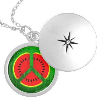 Fun Watermelon Peace Bright Colours Locket Necklace