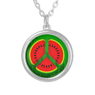 Fun Watermelon Peace Bright Colours Silver Plated Necklace