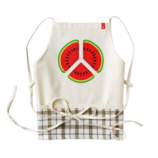 Fun Watermelon Peace Bright Colours Zazzle HEART Apron