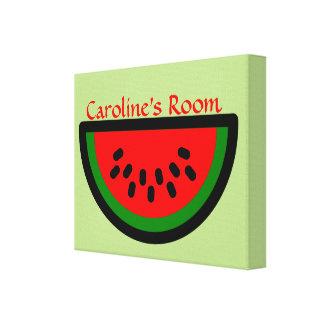 Fun Watermelon Slice Custom Kid's Name or Words Canvas Print