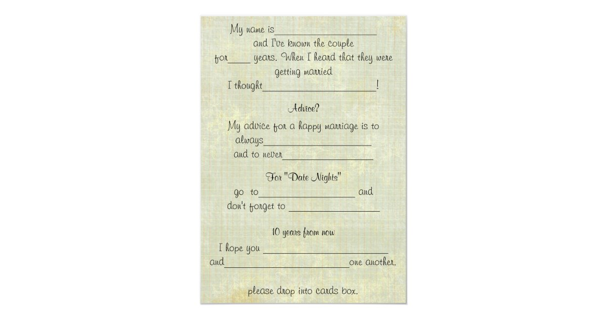 Fun Wedding Advice Comment Cards