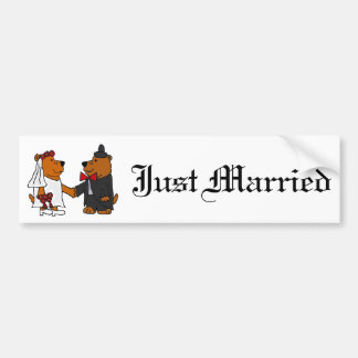Fun Wedding Bride and Groom Brown Bears Bumper Sticker