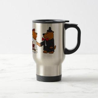 Fun Wedding Bride and Groom Brown Bears Travel Mug