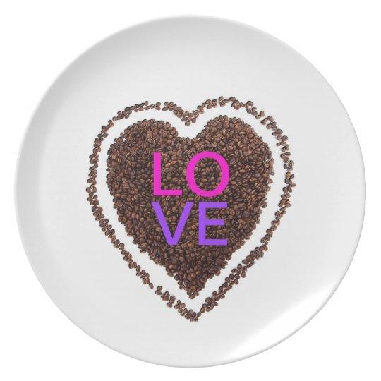 Fun Wedding Love Heart Bride Valentine Coffee Melamine Plate