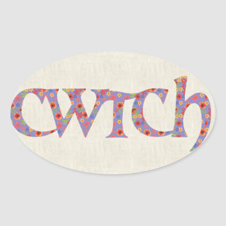 Fun Welsh Cwtch Stickers, Ditzy Flowers Oval Sticker
