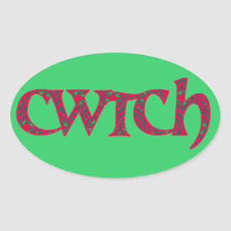 Fun Welsh Cwtch Stickers: Red, Green Pattern Oval Sticker