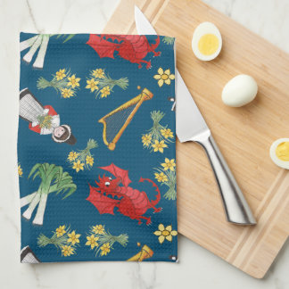 Fun Welsh Emblems on Blue Kitchen Towel, Tea Towel
