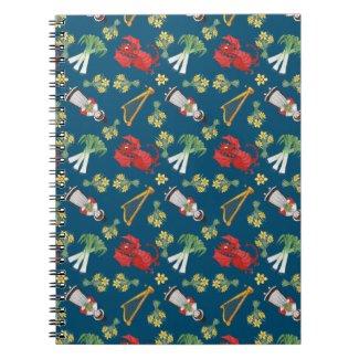 Fun Welsh Emblems on Blue Spiral Notebook