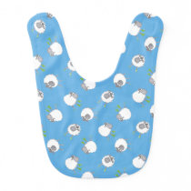 Fun Welsh Sheep Pattern on Sky Blue Background Bib