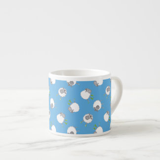 Fun Welsh Sheep Pattern on Sky Blue Background Espresso Cup