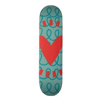 Fun Whimsical Doodle Heart and Swirls Skateboard Deck