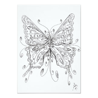 Fun Whimsical Ethereal Butterfly Coloring Card