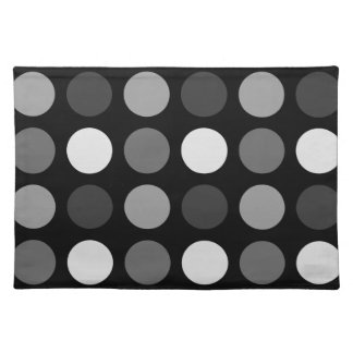 Fun Whimsical Gray and White Big Dots Cloth Placemat