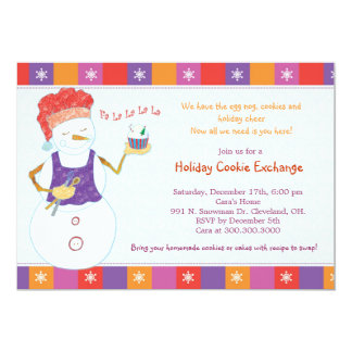 "Fun Whimsical Holiday Cookie Exchange Party Invite 5"" X 7"" Invitation Card"