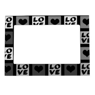 Fun Whimsical Love and Hearts Magnetic Photo Frame