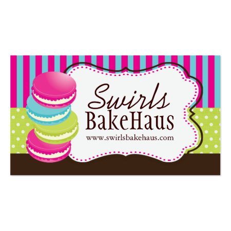 Fun Colorful Stacked Macarons Business Cards