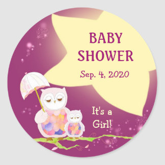 Fun Whimsical Owl Baby Shower Favor Stickers