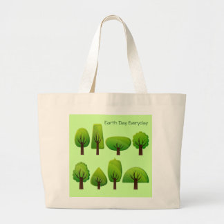 Fun Whimsical Row of Trees with Earth Day Everyday Large Tote Bag