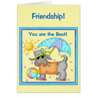 Fun Whimsy Beach Dog Yellow Friendship Greeting Card