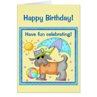 Fun Whimsy Beach Dog Yellow Happy Birthday Greeting Card