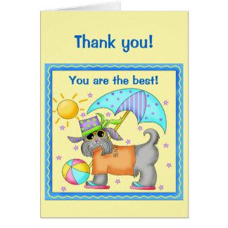 Fun Whimsy Beach Dog Yellow Thank You Greeting Card