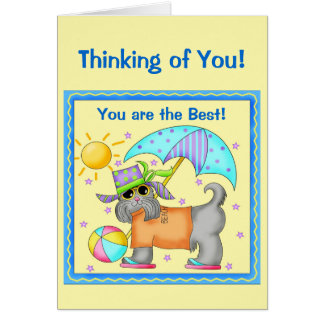 Fun Whimsy Beach Dog Yellow Thinking of You Greeting Card