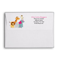Fun Whimsy Zoo Animals Personalized Envelope