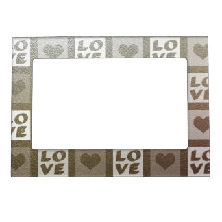 Fun White Love and Hearts Magnetic Picture Frame