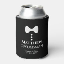 Fun White Tie Groomsman Wedding Foam Can Cooler