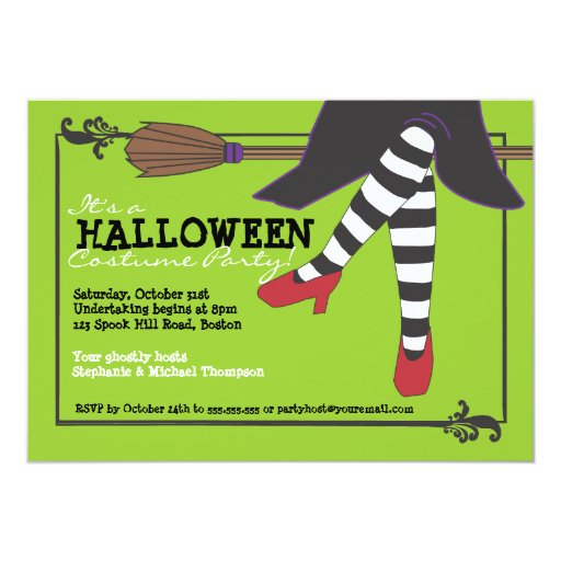 Fun Wicked Witch on Broom Halloween Costume Party 5x7 Paper Invitation Card