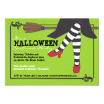 Fun Wicked Witch on Broom Halloween Costume Party Card