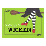 Fun Wicked Witch on Broom Halloween Party 5x7 Paper Invitation Card