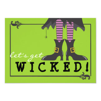 Fun Wicked Witch on Broom Halloween Party Card
